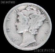 1936 Mercury Silver Dime 1936 Mercury Dime Circ Coin G 4 or Better