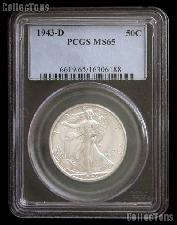 1943-D Walking Liberty Silver Half Dollar in PCGS MS 65