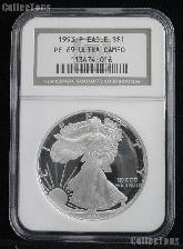 1993-P American Silver Eagle Dollar PROOF in NGC PF 69 ULTRA CAMEO