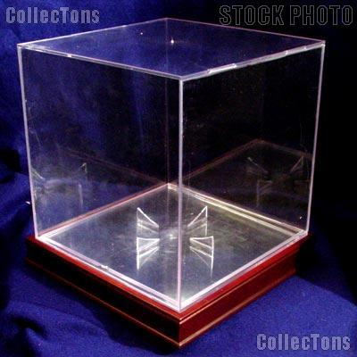 basketball display case w wood stand by bcw ballqube wood base with basketball holder - Basketball Display Case