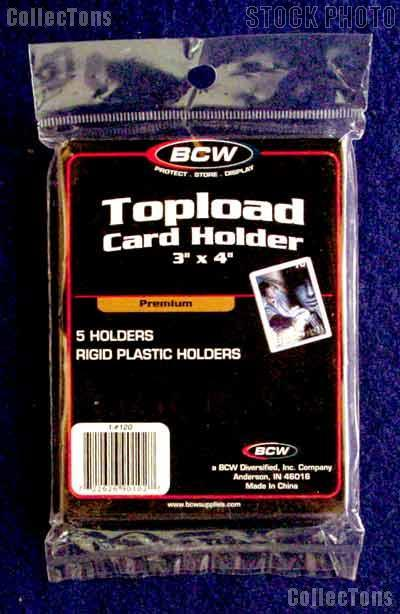 Sports Card Holders by BCW 5 Pack 3x4 Premium Topload Trading Card Holder