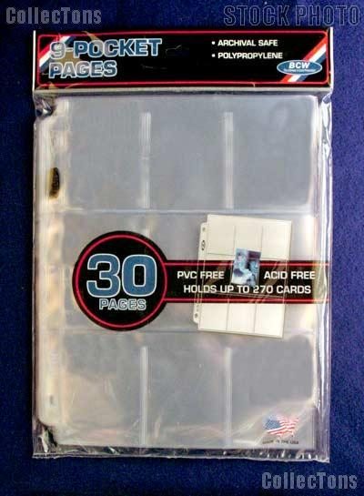 Trading Card Page 9-Pocket by BCW Pack of 30 Pro 9-Pocket Trading Card Pages