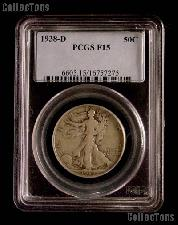 1938-D Walking Liberty Silver Half Dollar KEY DATE in PCGS F 15