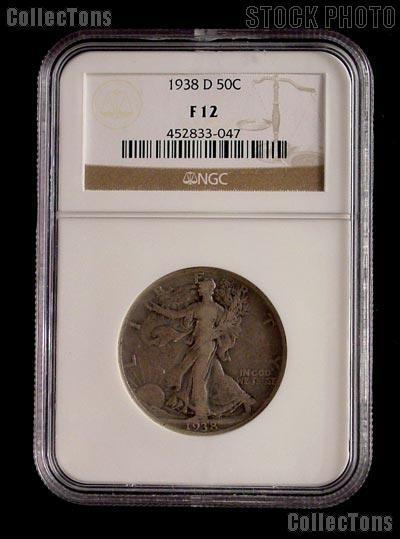 1938-D Walking Liberty Silver Half Dollar KEY DATE in NGC F 12