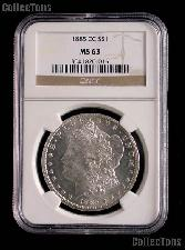1885-CC Morgan Silver Dollar in NGC MS 63