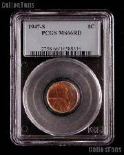 1947-S Lincoln Wheat Cent in PCGS MS 66 RD