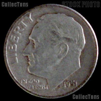 1951 Roosevelt Dime Silver Coin 1951 Silver Dime