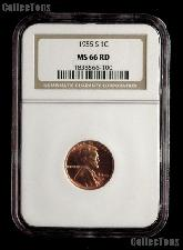 1955-S Lincoln Wheat Cent in NGC MS 66 RD