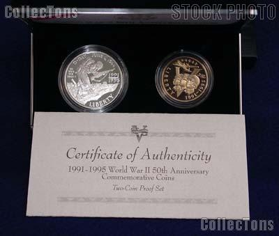 1991-1995 World War II 50th Anniversary Commemorative 2 Coin Proof Set