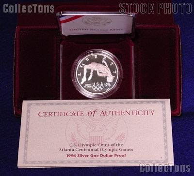 1996-P Atlanta Olympic Games Centennial High Jump Proof Silver Dollar