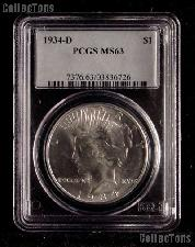 1934-D Peace Silver Dollar in PCGS MS 63