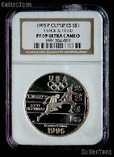 1995-P Track & Field Atlanta XXVI Olympic Games Silver Dollar Coin in NGC PF 69 Ultra Cameo