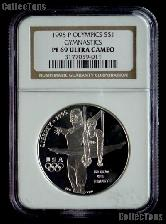 1995-P Gymnastics Atlanta XXVI Olympic Games Silver Dollar Coin in NGC PF 69 Ultra Cameo