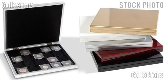 Presentation Case for Coins by Lighthouse MAHOGANY High-Gloss for 20 Quadrums