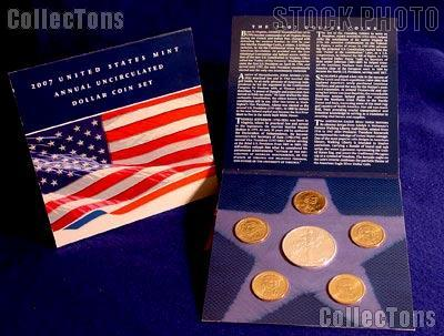 2007 United States Mint Annual Uncirculated Dollar Coin Set Silver