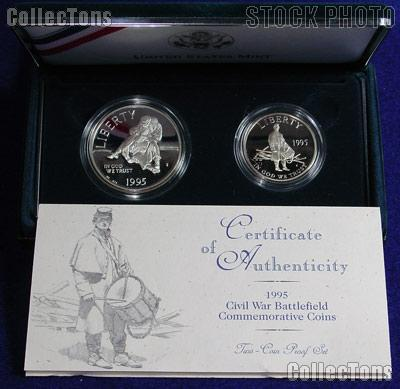 1995 Civil War Battlefield 2 Coin Proof Commemorative Set