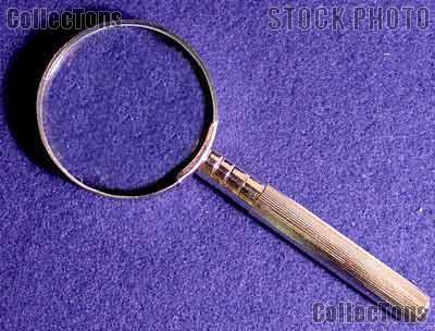 "8x Magnifying Glass Hand Held Chrome/Brass Body 2"" Glass Lens Magnifier"