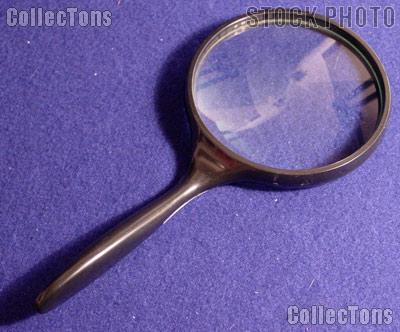 "2x Magnifying Glass ERGONOMIC Handle Hand Held 4"" Glass Lens Magnifier"