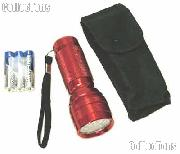 "LED Flashlight 21 LED 4"" Metal Construction w/ Case & Batteries RED"