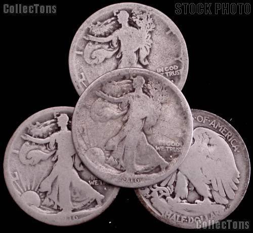 1916-S Walking Liberty Silver Half Dollar - Lower Grade