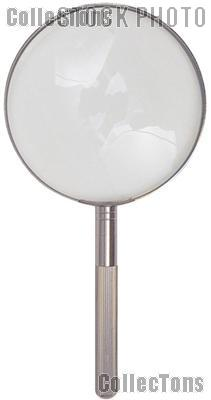 """Large Magnifying Glass 2x Power 4"""" Glass Lens Hand Held Chrome Metal Magnifier"""