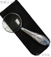 "Decorative Magnifying Glass 5x Power 1.75"" Glass Lens Hand Held Chrome Magnifier"