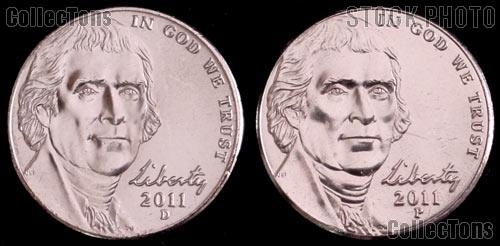 2011 P & D Jefferson Nickels Gem BU (Brilliant Uncirculated)