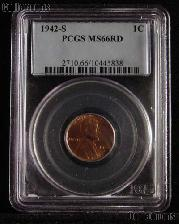 1942-S Lincoln Wheat Cent in PCGS MS 66 RD (Red)