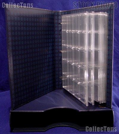 Coin Album Set Lighthouse Classic GRANDE w/ Binder & Slipcase in Blue & 2x2 Quadrum Coin Pages