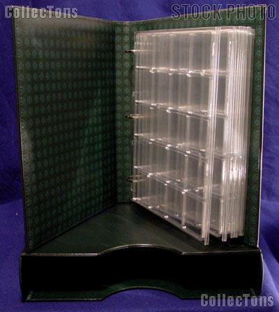 Coin Album Set Lighthouse Classic GRANDE w/ Binder & Slipcase in Green & 2x2 Quadrum Coin Pages