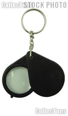 Folding 5x Pocket Magnifier with Key Chain Black