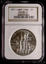 2002-W West Point Bicentennial Commemorative Silver Dollar in NGC MS 69