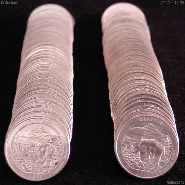 2011 P & D Montana Glacier National Park Quarter Bank Wrapped Rolls 80 Coins GEM BU