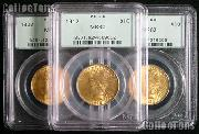 $10 Gold Indian Head Eagles in PCGS MS 62