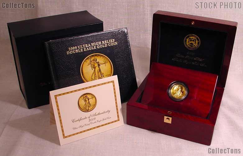 2009 UHR Ultra High Relief Double Eagle Gold Coin in Original US Mint Display Box