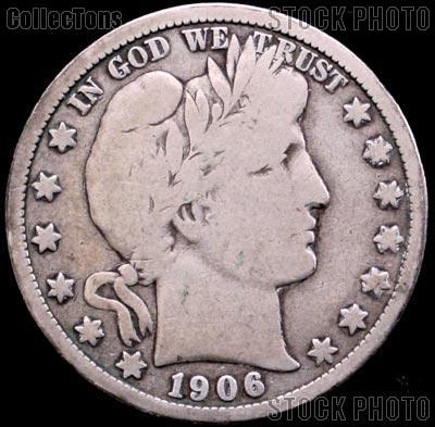 1906 Barber Half Dollar G-4 or Better Liberty Head Half Dollar