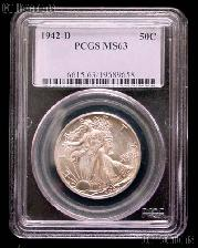 1942-D Walking Liberty Silver Half Dollar in PCGS MS 63