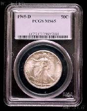 1945-D Walking Liberty Silver Half Dollar in PCGS MS 65