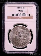 1884-CC Morgan Silver Dollar in NGC MS 63