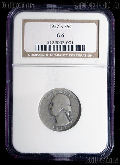 1932-S Washington Silver Quarter KEY DATE in NGC G 6