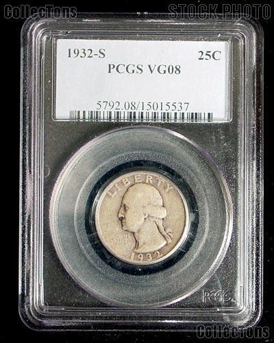1932-S Washington Silver Quarter KEY DATE in PCGS VG 8