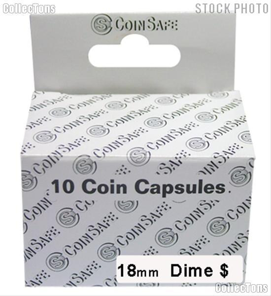 Coin Capsules Box of 10 by CoinSafe for Dimes (18mm)