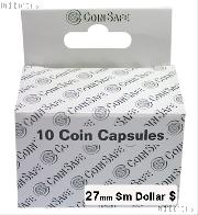 Coin Capsules Box of 10 by CoinSafe for Small Dollars (27mm)