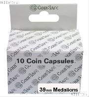 Coin Capsules Box of 10 by CoinSafe for Medallions (39mm)