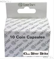 Coin Capsules Box of 10 by CoinSafe for Silver Strikes (43mm)