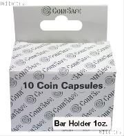 Coin Capsules Box of 10 by CoinSafe for 1oz Silver Bars