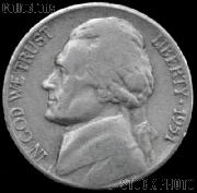 1951 Jefferson Nickel Circulated G-4 or Better