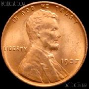 1937 Lincoln Wheat Cent GEM BU RED Penny for Album