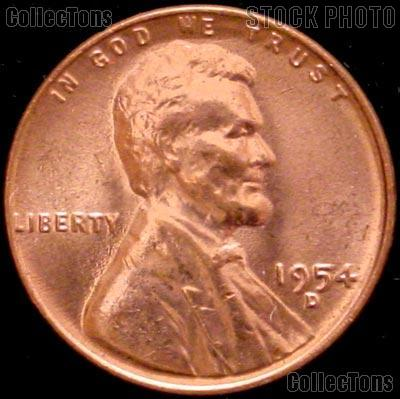 1954-D Lincoln Wheat Cent GEM BU RED Penny for Album