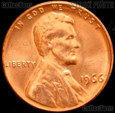 1966 Lincoln Memorial Cent GEM BU RED Penny